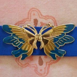 Vintage 1980s butterfly blue elastic belt